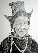 Figurative Art Drawings - Tibetan Delight by Enzie Shahmiri