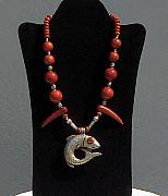 Coral Jewelry - Tibetan Fish Necklace by Eleanor Love