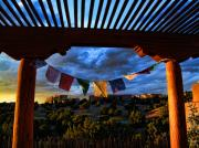 Santa Fe Framed Prints - Tibetan Prayer Flags Outside My Office at Sundown Framed Print by Paul Cutright