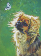 Tibetan Posters - Tibetan Spaniel and cabbage white butterfly Poster by Lee Ann Shepard