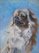 Spaniel Puppy Paintings - Tibetan Spaniel in snow by L A Shepard