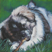 Tibetan Paintings - Tibetan Spaniel pop by Lee Ann Shepard