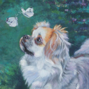 Tibetan Paintings - Tibetan Spaniel with butterfly by Lee Ann Shepard