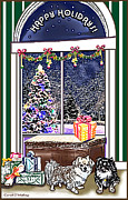 Cute Dogs Pastels - Tibetan Spaniels Holiday Wish by Carol OMalley
