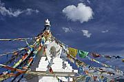 Tibetan Buddhism Posters - Tibetan Stupa with Prayer Flags Poster by Michele Burgess