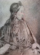 Tibet Drawings Prints - Tibetan Woman Print by Gloria Avner