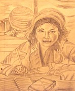 Tibet Drawings Framed Prints - Tibetian Girl Framed Print by Preeti