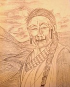 Tibet Drawings Framed Prints - Tibetian woman Framed Print by Preeti