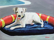 Paws Painting Originals - Tiburon at the Pool by Terry Lewey