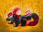 Anthropomorphic Paintings - Tickle Fight by Beth Davies