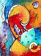 Colorful Abstract Framed Prints - Tickle My Fancy Original Whimsical Painting Framed Print by Megan Duncanson