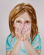 Missing Child Painting Metal Prints - Tickled Pink Metal Print by Anne Cameron Cutri