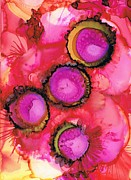 Alcohol Ink Posters - Tickled Pink Poster by Christine Crawford