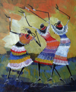 Maasai Painting Originals - Tickling the rhythm by Martin Bulinya