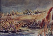 Sand Dunes Paintings - Tidal marsh by W R  Hersom