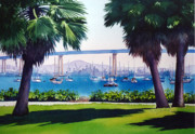 Bay Bridge Painting Metal Prints - Tide Lands Park Coronado Metal Print by Mary Helmreich
