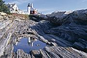 Horizontal Originals - Tide Pool Reflection Pemaquid Point Lighthouse Maine by George Oze