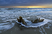 Silhouettes Metal Prints - Tides at Driftwood Beach Metal Print by Debra and Dave Vanderlaan