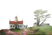 Gloomy Framed Prints - Tides of Battery Point Lighthouse - Northern CA Framed Print by Christine Till