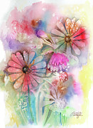 Floral Paintings - Tie Dye Daisies by Arline Wagner