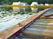 Country Cottage Photos - Tie-Up Ring on Dock on a Central Ontario Lake by Gordon Wood