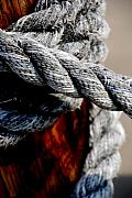 Ropes Tied To A Pol Photo Metal Prints - Tied together Metal Print by Susanne Van Hulst