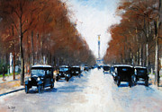 Colorful Landscape Paintings - Tiergartenallee in Berlin by Stefan Kuhn