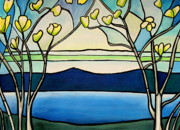 River Scenes Mixed Media Prints - Tiffany and Blossoms Stained Glass Print by Elizabeth Robinette Tyndall