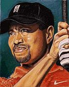 Tiger Woods Paintings - Tiger - Eldrick Woods by Kenneth Kelsoe
