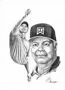 Tiger Woods Drawings - Tiger and Earl Woods-Murphy Elliott by Murphy Elliott