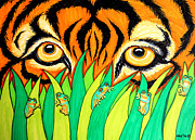 Grass Drawings Framed Prints - Tiger and Frogs Framed Print by Nick Gustafson