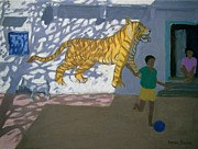 Mural Framed Prints - Tiger Framed Print by Andrew Macara