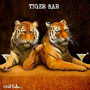 Humorous Painting Prints - Tiger Bar... Print by Will Bullas