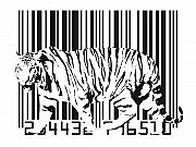 White Digital Art Posters - Tiger Barcode Poster by Michael Tompsett