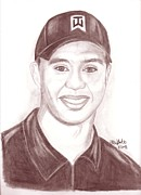 Tiger Woods Drawings - Tiger by Brian White