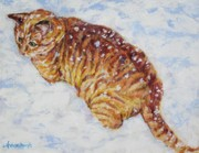 Stripped Paintings - Tiger cat in the snow by Andrea Agresta