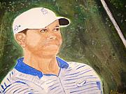 Tiger Woods Paintings - Tiger by Cathy Jourdan