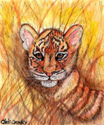 The Tiger Mixed Media Posters - Tiger Cub Poster by Chris Crowley