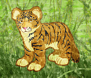Tigress Digital Art - Tiger Cub by Mary Ogle