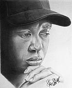 Tiger Woods Drawings - Tiger by Felipe Galindo