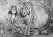 Scared Drawings Posters - Tiger Girl Poster by Terry Morris
