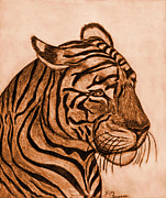 Photomanipulation Drawings Metal Prints - Tiger III Metal Print by Debbie Portwood