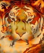 Animalia Framed Prints - Tiger Illustration Framed Print by Design Pics Eye Traveller