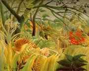 Striking Metal Prints - Tiger in a Tropical Storm Metal Print by Henri Rousseau