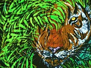 Bengal Tiger Tapestries - Textiles Prints - Tiger in Bamboo Print by Kay Shaffer