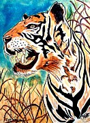 Tiger Pyrography Originals - Tiger in the Grass by Mike Holder