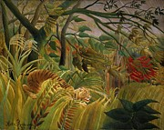 Primative Posters - Tiger In Tropical Storm Poster by Pg Reproductions