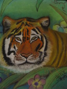 Jungle Pastels Prints - Tiger  Print by Julie Karatkewicz