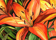Brown Leaves Posters - Tiger Lilies Poster by Elaine Hodges