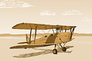 Biplane Drawings - Tiger Moth Old Style by Netta Canfi